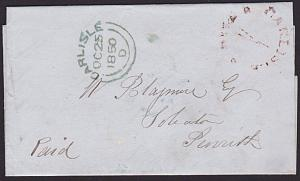 GB 1850 Folded entire CARLISLE / 1 / PAID in red to Penrith.................6423