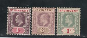 ST VINCENT 1904 KEVII 1D 6D AND 1/- WMK MULTI CROWN CA