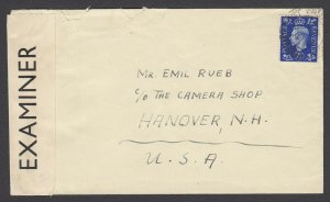 US 1940 Womens Internment Camp, Isle of Man cover - to NH, USA