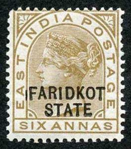 ICS FARIDKOT SGO11var 1887-98 6a bistre-brown Variety Line Before F M/M (Thin)