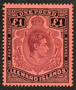 Leeward Islands SG114a KGVI One Pound Purple and Black/Carmine M/M