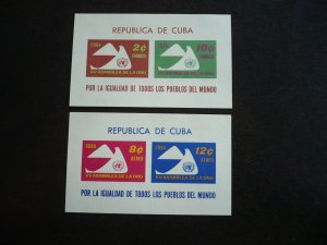 Stamps - Cuba - Scott# 669a,C223a - Mint Hinged Two Souvenir Sheets