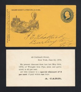 NEW YORK: New York 1875 A. Carr STEAM PUMP