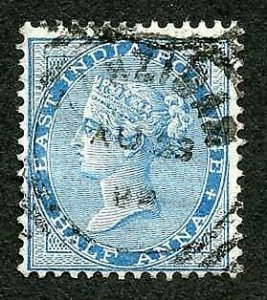 Zanzibar SGZ43 India 1/4a Blue Squared Circle (type Z4)
