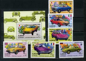 AJMAN 1971 Mi#1169-1174A,Bl.324A OLD SPORT CARS SET OF 6 STAMPS & S/S PERF. MNH