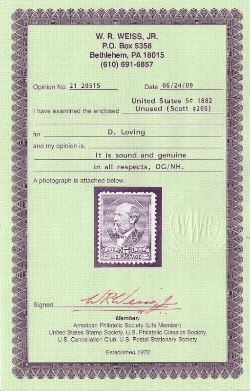 205 MNH,  5c. Grant,  Certificate, scv: $800