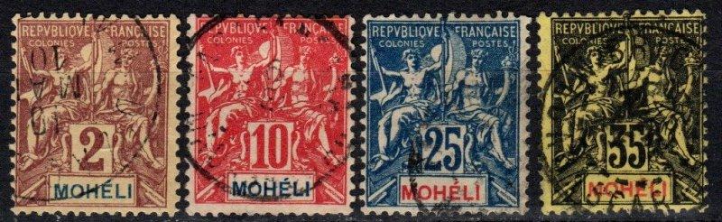 Moheli #2, 5, 7, 9 F-VF Used CV $13.65 (X5373)