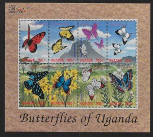 Uganda 1651 Butterflies of Uganda Mini-Sheet MNH c.v. $9.00