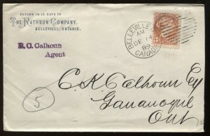 Canada 3 Cent Small Queen on cacheted 1889 Belleville ON cover to Gananoque