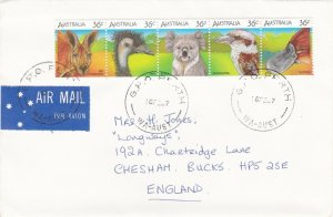 APH603) Australia 1986 Greeting card size Airmail cover Perth to UK