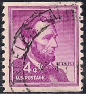 1058 4 cents Super Cancel Abraham Lincoln, Stamp used VF