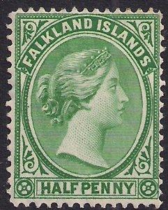Falkland Islands 1891 - 02 QV 1/2d Green Unused No Gum SG 16 ( H191 )