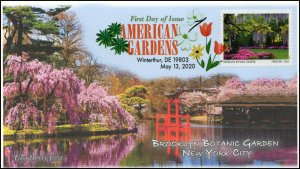 20-117, 2020, American Gardens, Digital Color Postmark, First Day Cover, Brook