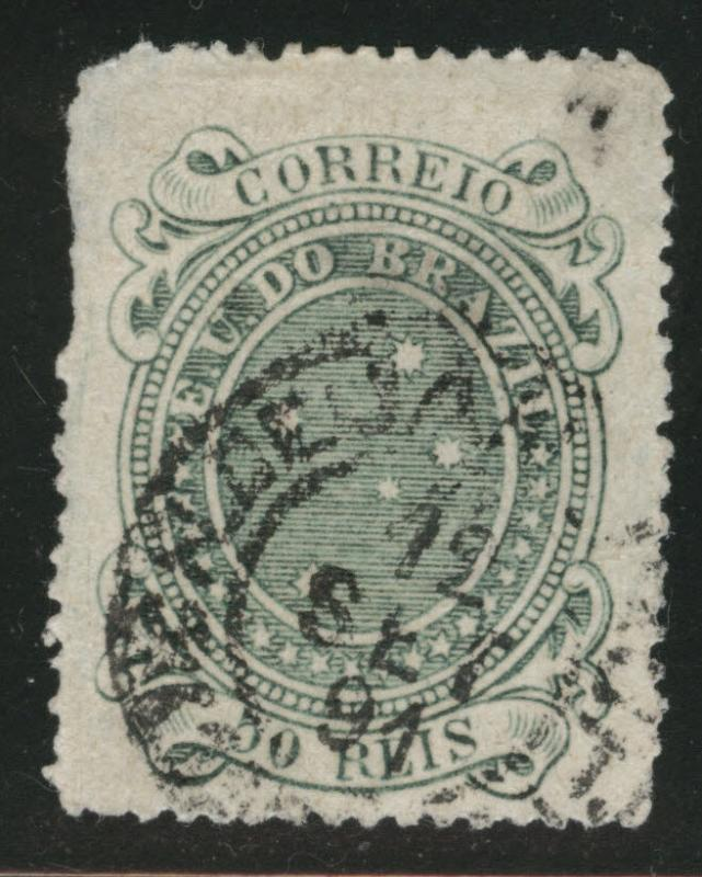 Brazil Scott 100 Used 1890 thinned Southern cross stamp