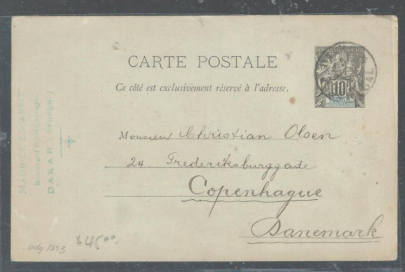 SENEGAL (P2608B) 1905 10C PSC TO DANEMARK WITH MSG