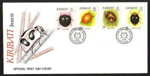 Kiribati, Scott cat. 607-610. Insects issue on a First day cover.