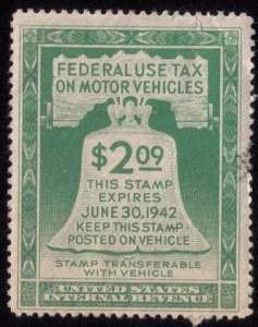 US Scott #RV1 $2.09 Motor Vehicle Use Revenue StampLight Green1942 Used