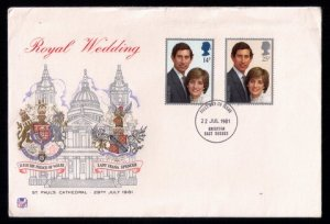 Great Britain Scott #950-951 FDC Two Stamps Charles & Diana (1981):