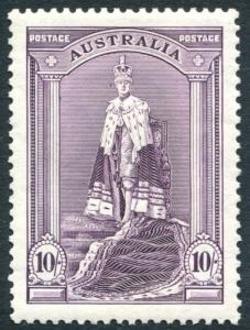 AUSTRALIA-1938 10/- Dull Purple  Sg 177 LIGHTLY MOUNTED MINT V23132
