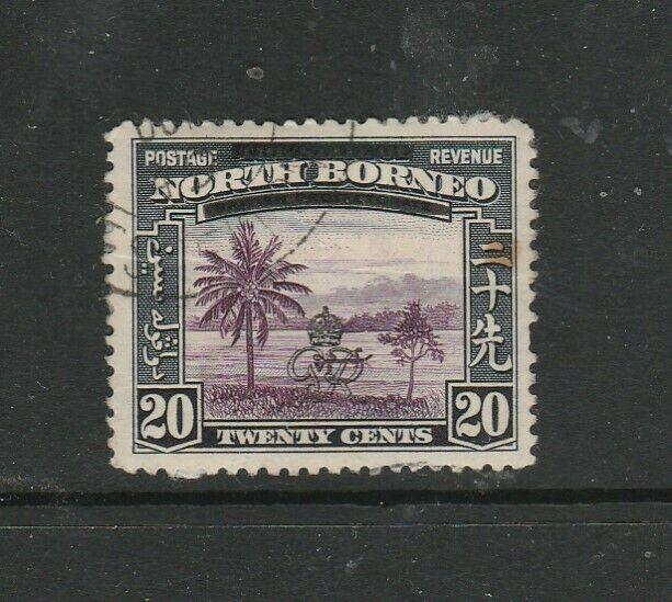 North Borneo 1947 Opts 20c broken bar at right FU SG 344b