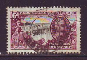 Southern Rhodesia Sc 36 1935 6d G V Silver Jubilee stamp used