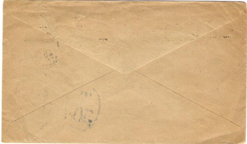 1927 Cover from Durban South Africa with GB 2d POSTAGE DUE & handstruck markings