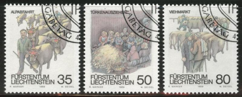 LIECHTENSTEIN Scott 915-917 Used CTO 1989 stamp set CV$1.95