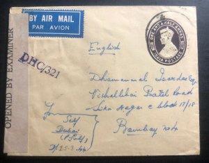1944 India Post Office Dubai United Arab Emirates Censored Cover To Bombay WW2