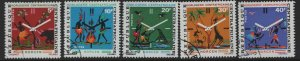 CENTRAL AFRICAN REPUBLIC   169-173 USED CLOCK SET 1972