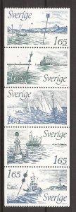 1982 Sweden -Sc 1414a - MNH VF - Strip of 5 - Various buoy signals