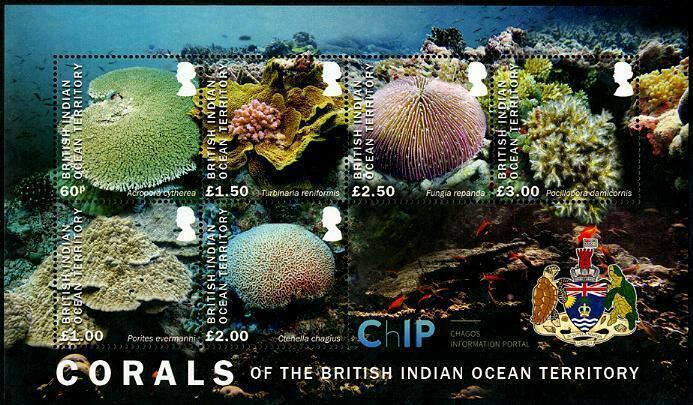 HERRICKSTAMP NEW ISSUES BRITISH INDIAN OCEAN Coral Souvenir Sheet