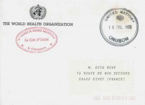 France Military Free Mail 1993 United Nations, ONUSOM illustrated cds to Give...