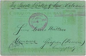 HONDURAS - POSTAL STATIONERY CARD to GERMANY 1908 - TRAINS