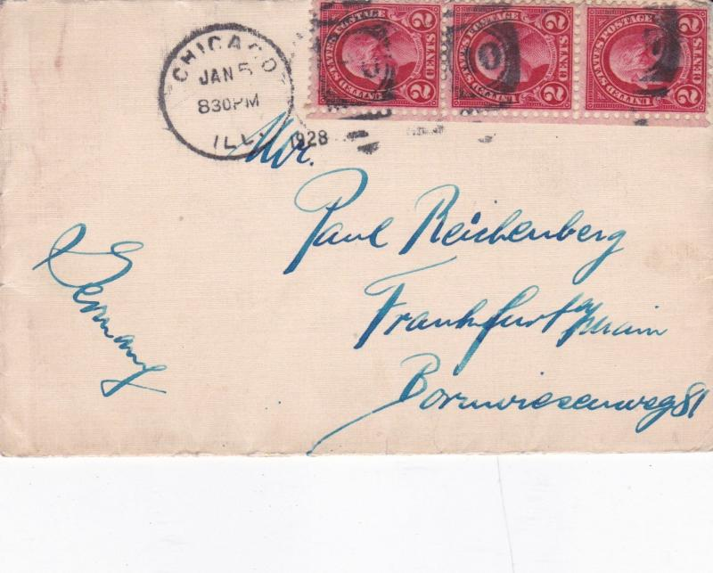 United States 1928 Chicago to Frankfurt Germany Cover VGC