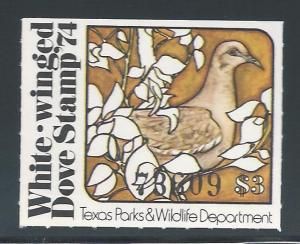 White-winged Dove Stamp '74, Texas Parks & Wildlife Depar...