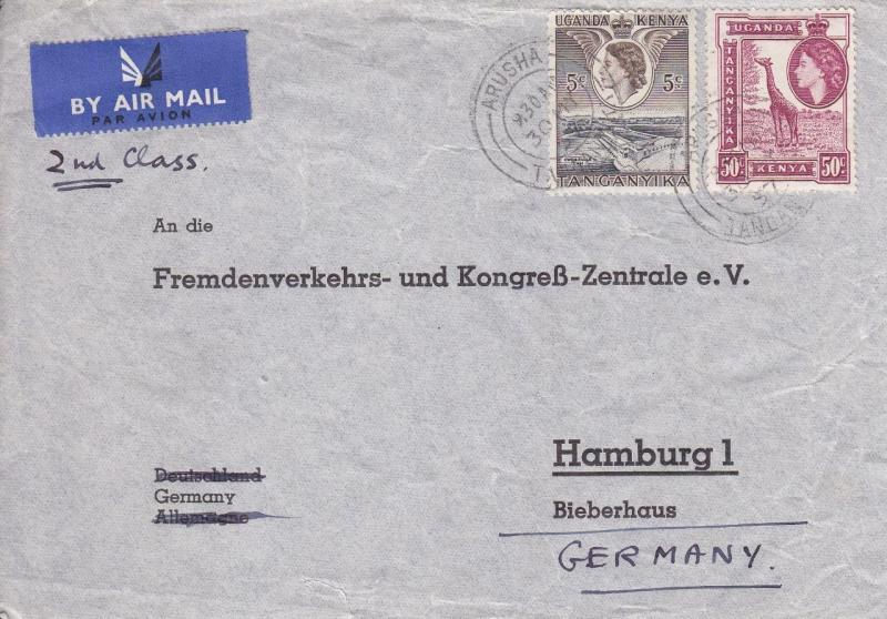 Rousha, Tanganyika to Hamburg, Germany, 1937, Airmail (11386)