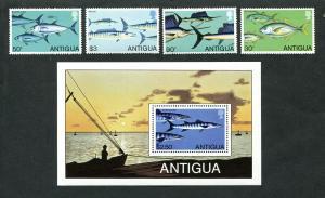 Antigua 1979 marine life fish set+s/s MNH