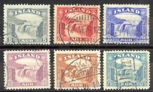 Iceland Sc# 170-175 Used 1931-1932 Gullfoss (Golden Falls)