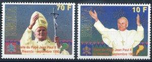 Rwanda 1990 Scott 1353-1354 Pope Visit MNH