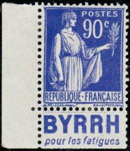 FRANCE - 1938 Yv.368a 90c Paix t.I Pub BYRRH pour les fatigues - sans gomme