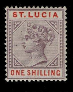 ST. LUCIA QV SG50, 1s dull mauve & red, VLH MINT. Cat £15.