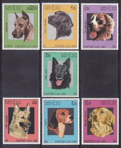 Laos 774-80 MNH 1987 Various Dogs Complete Set of 7 Very Fine