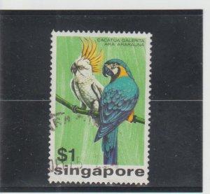 Singapore  Scott#  239  Used  (1975 Cockatoo and Macaw)