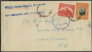 WEST INDIAN AERIAL EXPRESS HAITI TO SAN JUAN, P.R. COVER  BL1628
