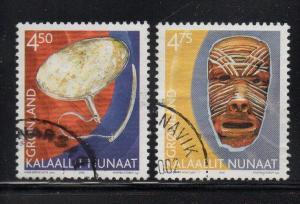 Greenland Sc 392-3 2002 Cultural Heritag stamp set used