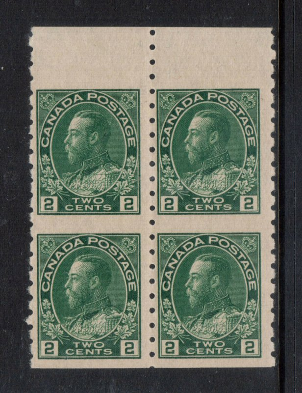 Canada #128ai Very Fine Never Hinged Imperf Block **With Certificate**