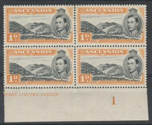 ASCENSION 1938 KGVI GREEN MOUNTAIN 1D */** PART IMPRINT BLOCK PERF 13.5