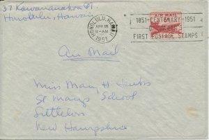 Honolulu Hawaii 1951 Centenary of Hawaiis First Postage Stamps cancel
