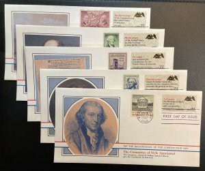 US #2355-2359 FDC - Bicentennial of Constitution 1787-1987 [BIC25_29]