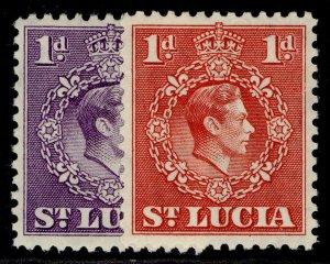 ST. LUCIA GVI SG129a + 129c, 1d COLOUR VARIETIES, M MINT.